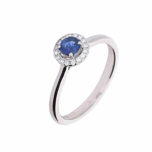 Rock Lobster Ring Platinum blue sapphire and diamond halo ring