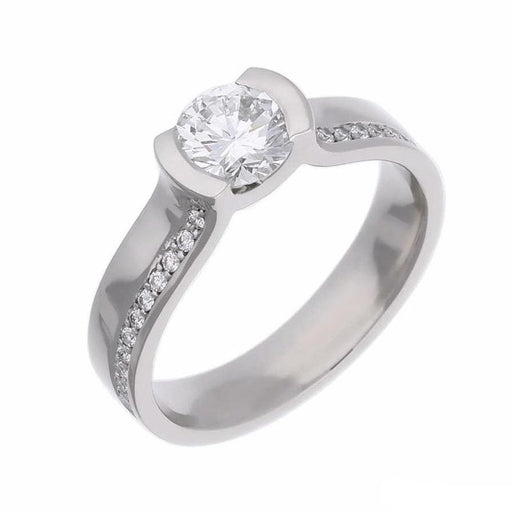 Rock Lobster Ring Platinum brilliant cut diamond ring with side set shoulders