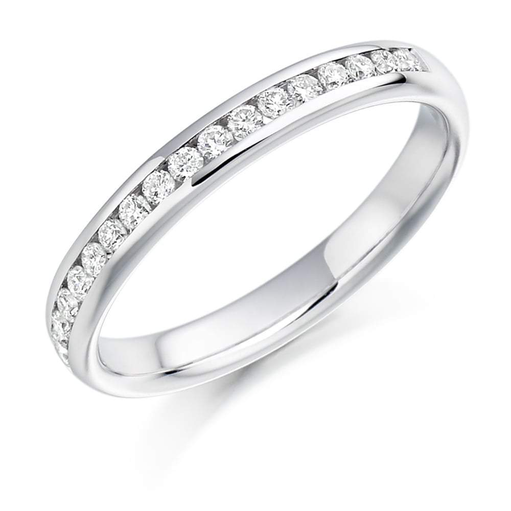 Rock Lobster Ring Platinum channel set 0.22 brilliant Diamond 1/2 eternity band