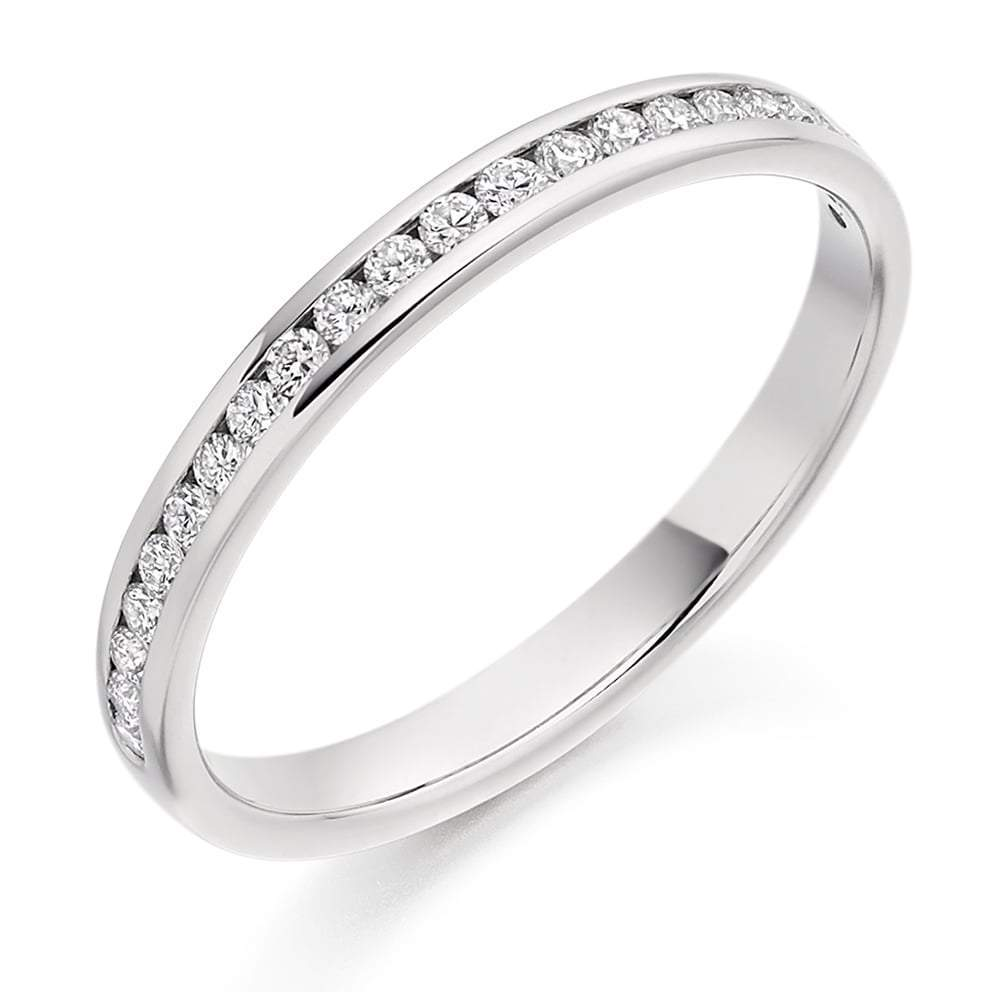Rock Lobster Ring Platinum channel set 0.25 brilliant Diamond 1/2 eternity band ring