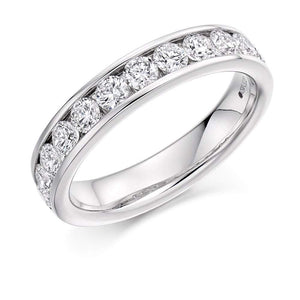 Rock Lobster Ring Platinum channel set brilliant 1.00 Diamond 1/2 eternity band
