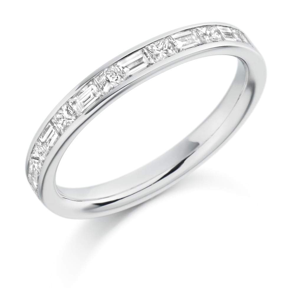 Rock Lobster Ring Platinum channel set mixed 0.60 Diamond half eternity band
