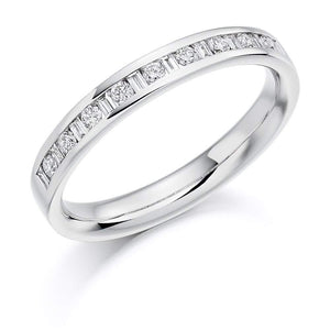 Rock Lobster Ring Platinum channel set mixed Diamond 0.25 half eternity band