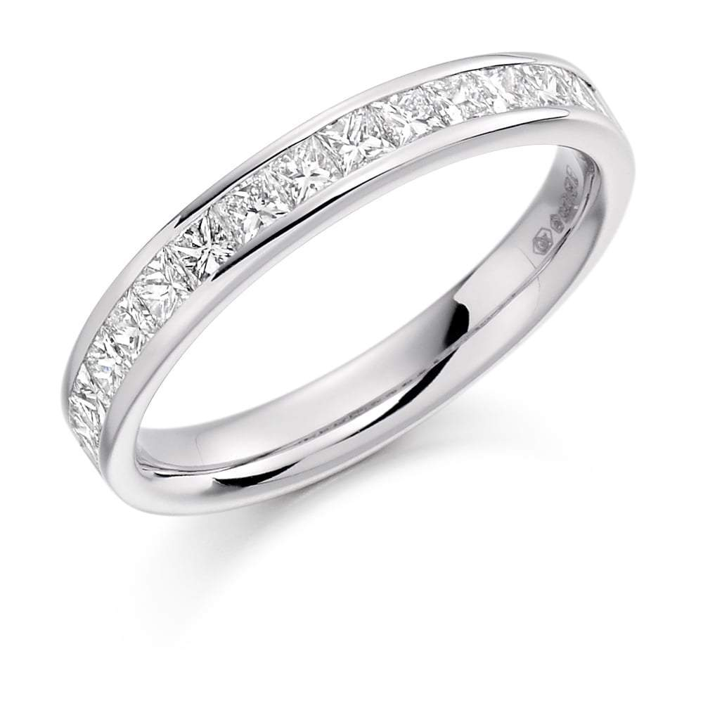 Rock Lobster Ring Platinum channel set princess 0.75 Diamond half eternity band ring