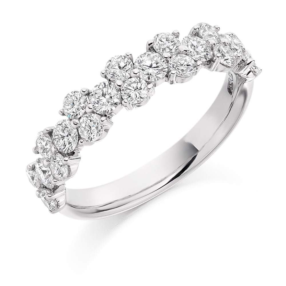 Rock Lobster Ring Platinum cluster set Diamond 1/2 eternity band