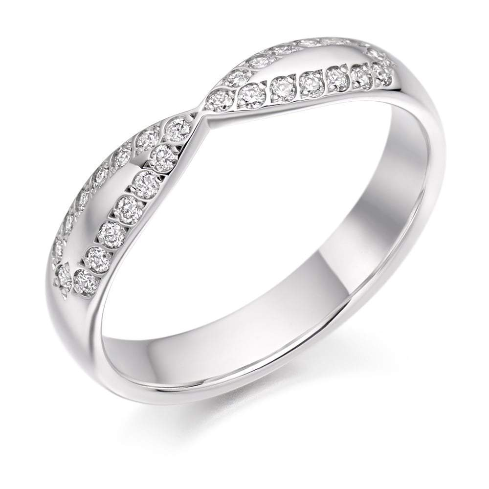 Rock Lobster Ring Platinum curved grain set 0.25 Diamond edged half eternity band