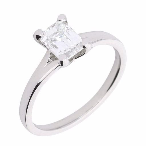 Rock Lobster Ring Platinum emerald cut 1.00ct diamond ring with slight split shank and 4 claws