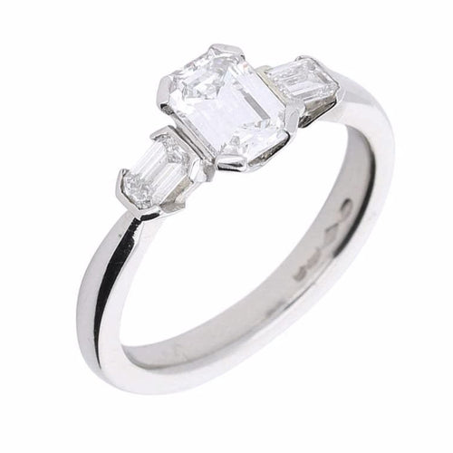 Rock Lobster Ring Platinum emerald cut 1.06ct diamond trilogy ring
