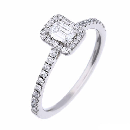 Rock Lobster Ring Platinum Emerald cut Diamond halo ring