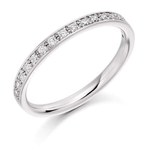 Rock Lobster Ring Platinum grain set round brilliant Diamond 1/2 eternity band