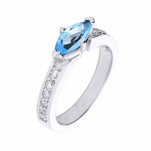 Rock Lobster Ring Platinum marquise Aquamarine and diamond ring