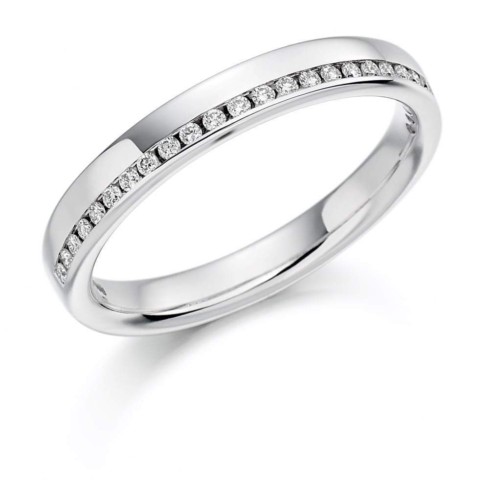 Rock Lobster Ring Platinum offset channel set 0.12 Diamond 1/2 eternity band