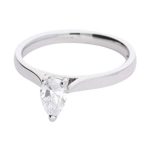 Rock Lobster Ring Platinum pear shaped 0.52ct diamond solitaire ring