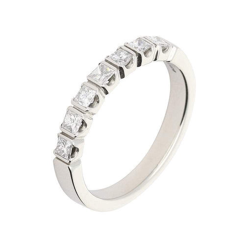 Rock Lobster Ring Platinum princess cut diamond bar set half eternity ring