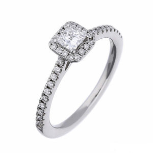 Rock Lobster Ring Platinum princess cut diamond halo ring with set shoulders