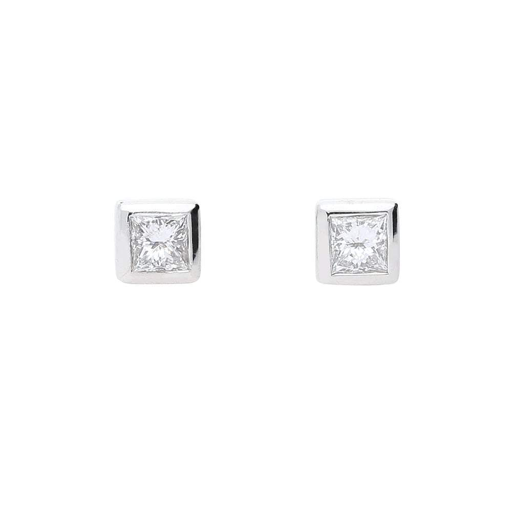 Rock Lobster Earrings Platinum princess cut diamond stud earrings