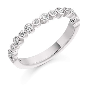 Rock Lobster Ring Platinum rubover with Diamond set half eternity band