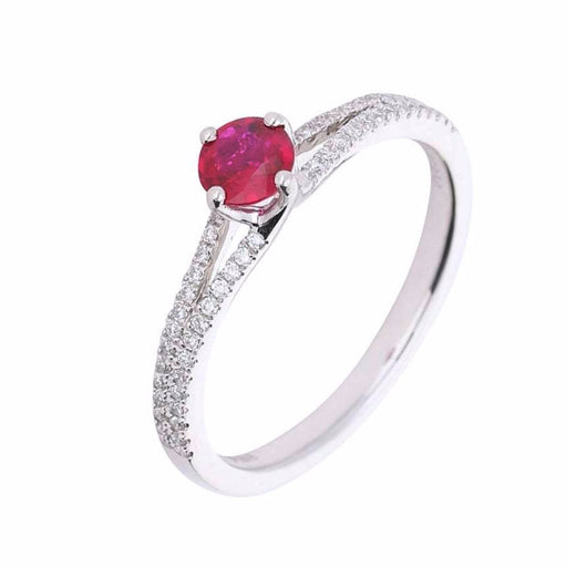 Rock Lobster Ring Platinum ruby ring with diamond set shoulders