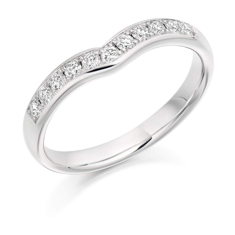 Rock Lobster Ring Platinum shaped 0.30 grain set Diamond 1/2 eternity band