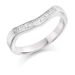 Rock Lobster Ring Platinum shaped baguette Diamond 1/2 eternity band