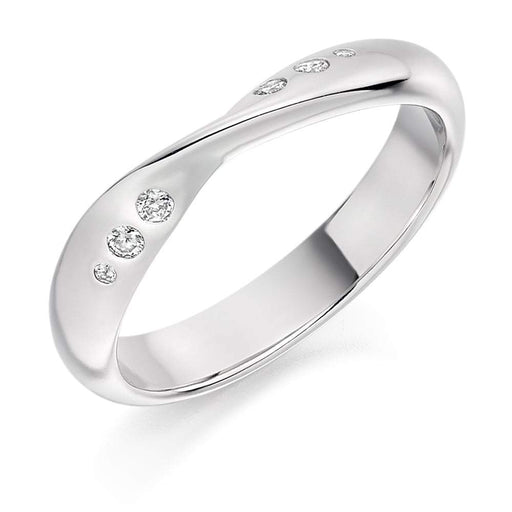 Rock Lobster Ring Platinum shaped rubover Diamond 1/2 eternity band