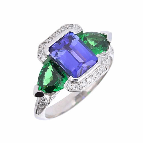 Rock Lobster Ring Platinum tanzanite and tzavorite diamond queens ring