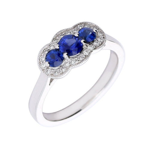Rock Lobster Ring Platinum trilogy Sapphire & Diamond ring