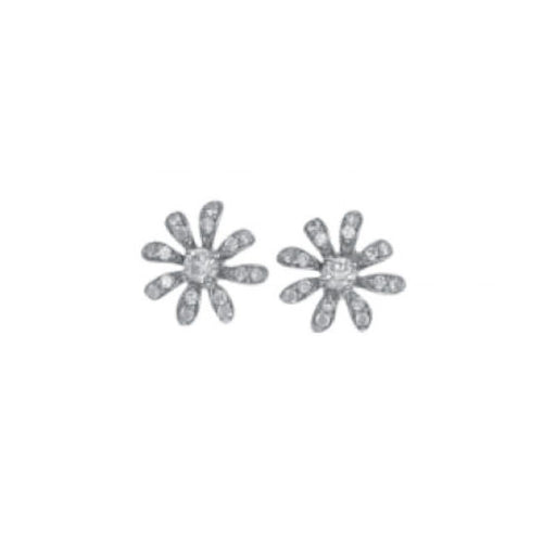 Rock Lobster Earrings Pretty silver daisy stud earrings with pave set stones