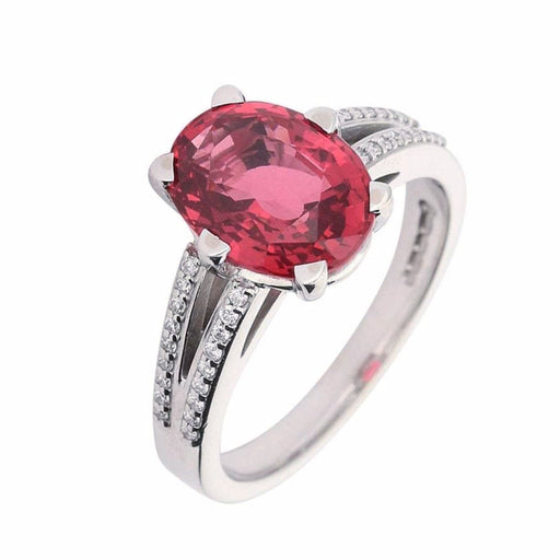 Rock Lobster Ring Red spinel and white gold ring set with dianond shoulders