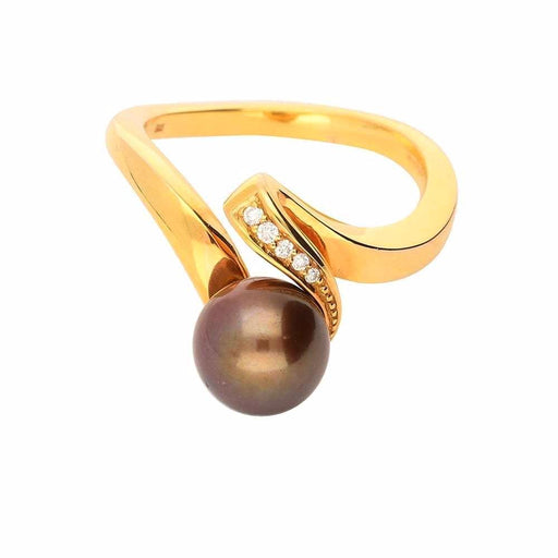 Rock Lobster Ring Rose gold brown pearl and diamond ring with a twist