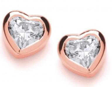 Rock Lobster Earrings Rose gold plated Silver and cubic zirconia heart stud earrings