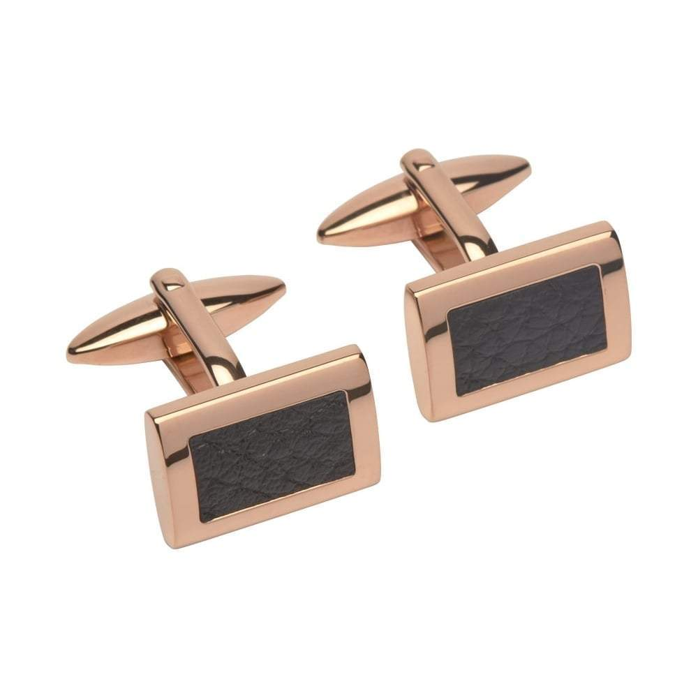 Rock Lobster Cufflinks Rose gold rectangle cufflinks with black leather