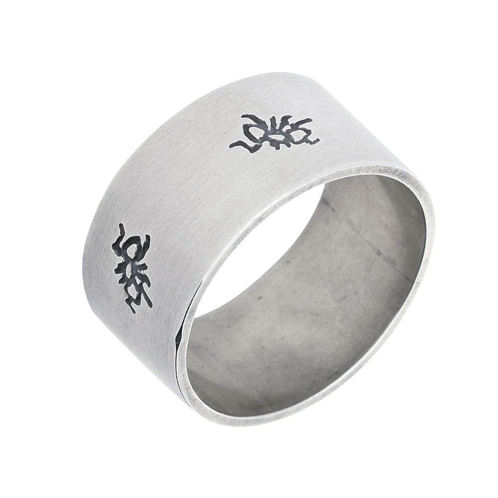 Rock Lobster Ring Silver ant wide band ring