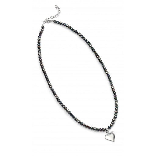 Rock Lobster Neckwear Silver black pearl heart necklace