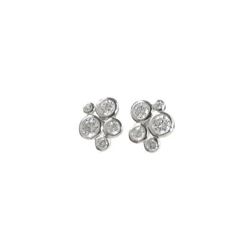 Rock Lobster Earrings Silver bubble cluster studs
