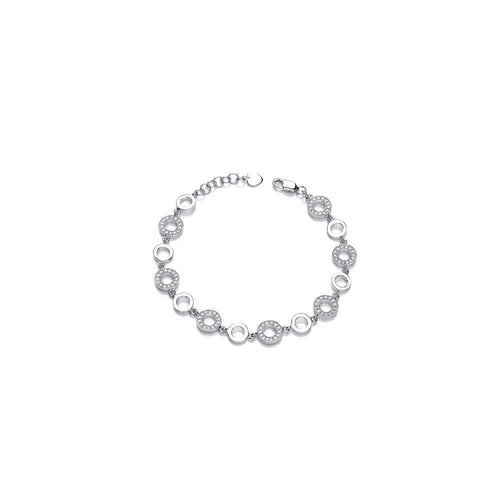 Rock Lobster Bracelet Silver circles bracelet with cibic zirconias