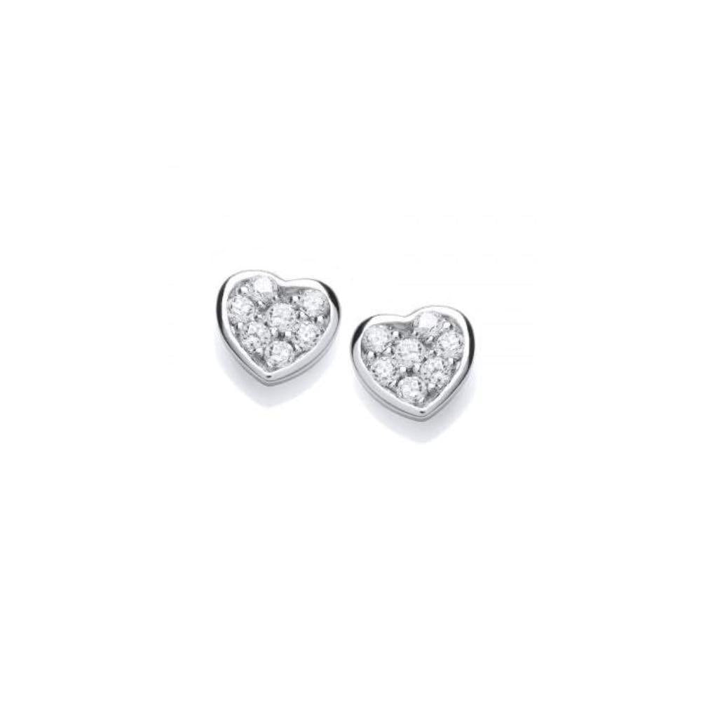 Rock Lobster Earrings Silver cubic zirconia pave heart studs