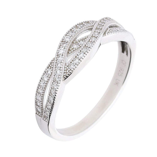 Rock Lobster Ring Silver Cubic Zirconia Woven Ring