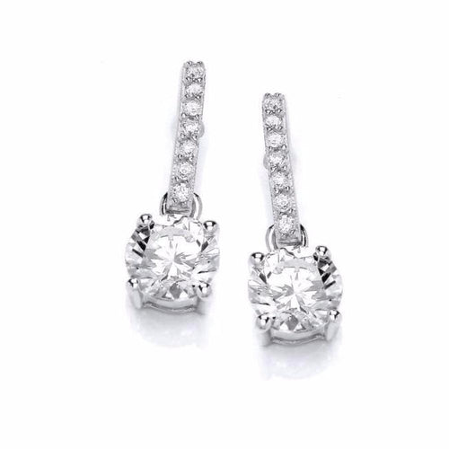 Rock Lobster Earrings Silver cubics zirconia round solitaire drop earrings