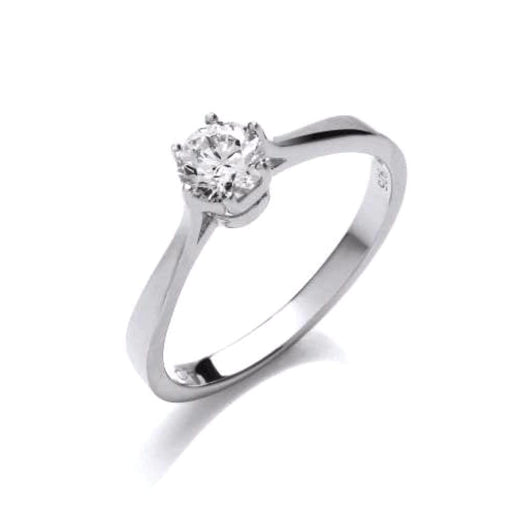 Rock Lobster Ring Silver CZ classic solitaire ring