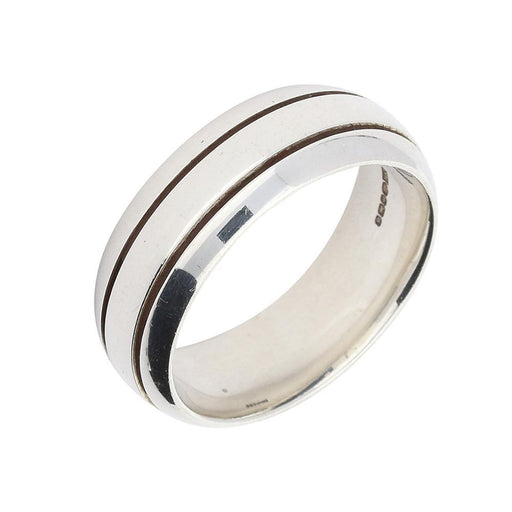 Rock Lobster Ring Silver double grooved band