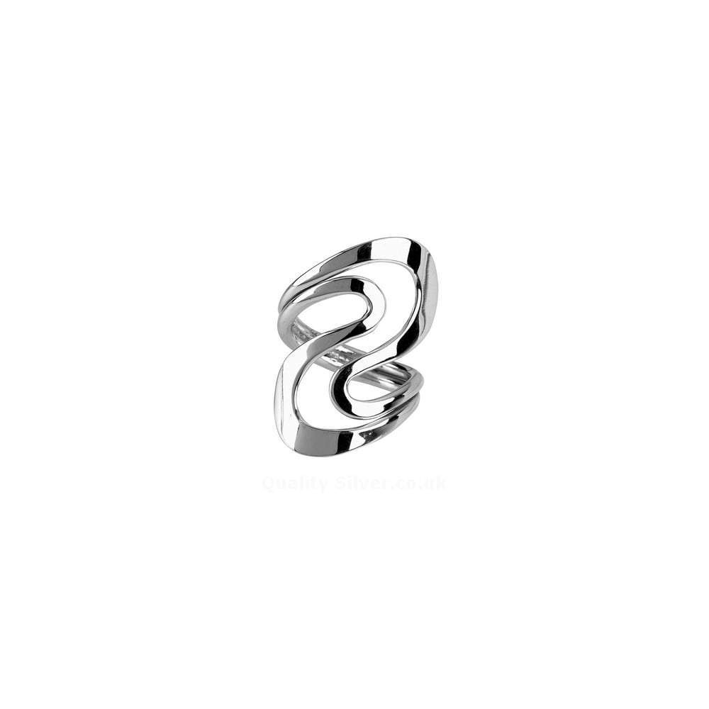 Rock Lobster Ring Silver double S swirl ring