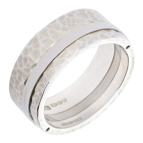Rock Lobster Ring Silver matt hammered stripe band