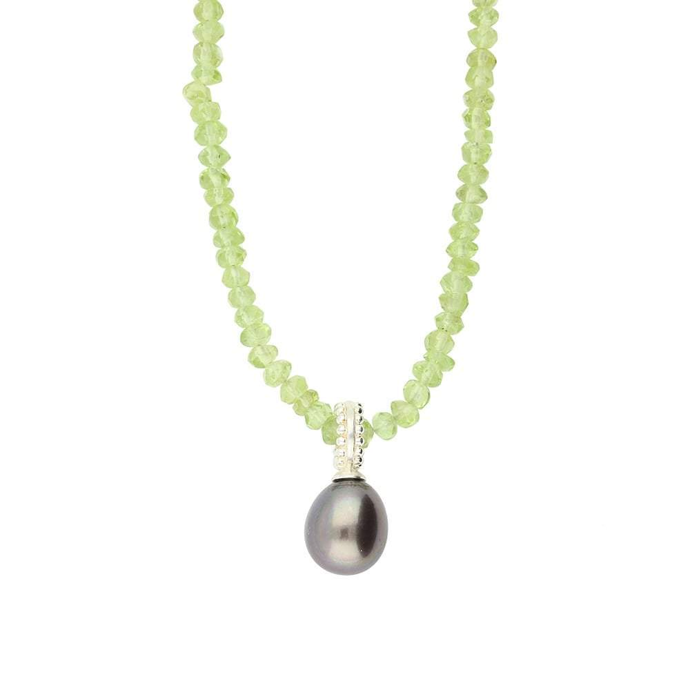 Rock Lobster Neckwear Silver peridot peacock pearl necklace