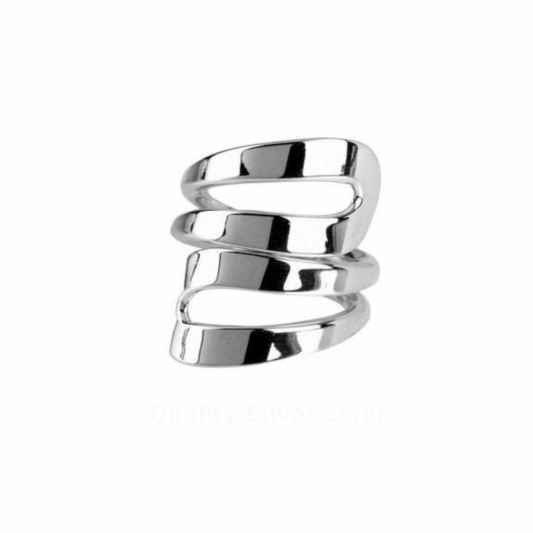 Rock Lobster Ring Silver Size P wide double loops ring