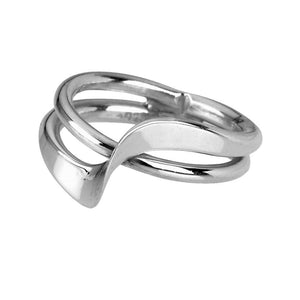 Rock Lobster Ring Silver Size Q double band overlap twist ring