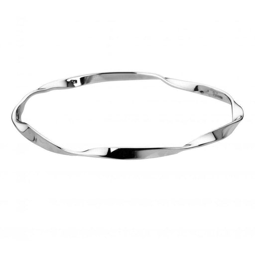 Rock Lobster Bangle Silver slightly twisted wrap bangle