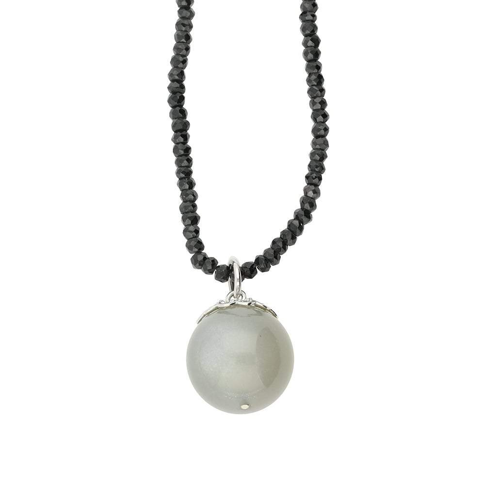 Rock Lobster Necklace Silver spinel and light grey moonstone necklace