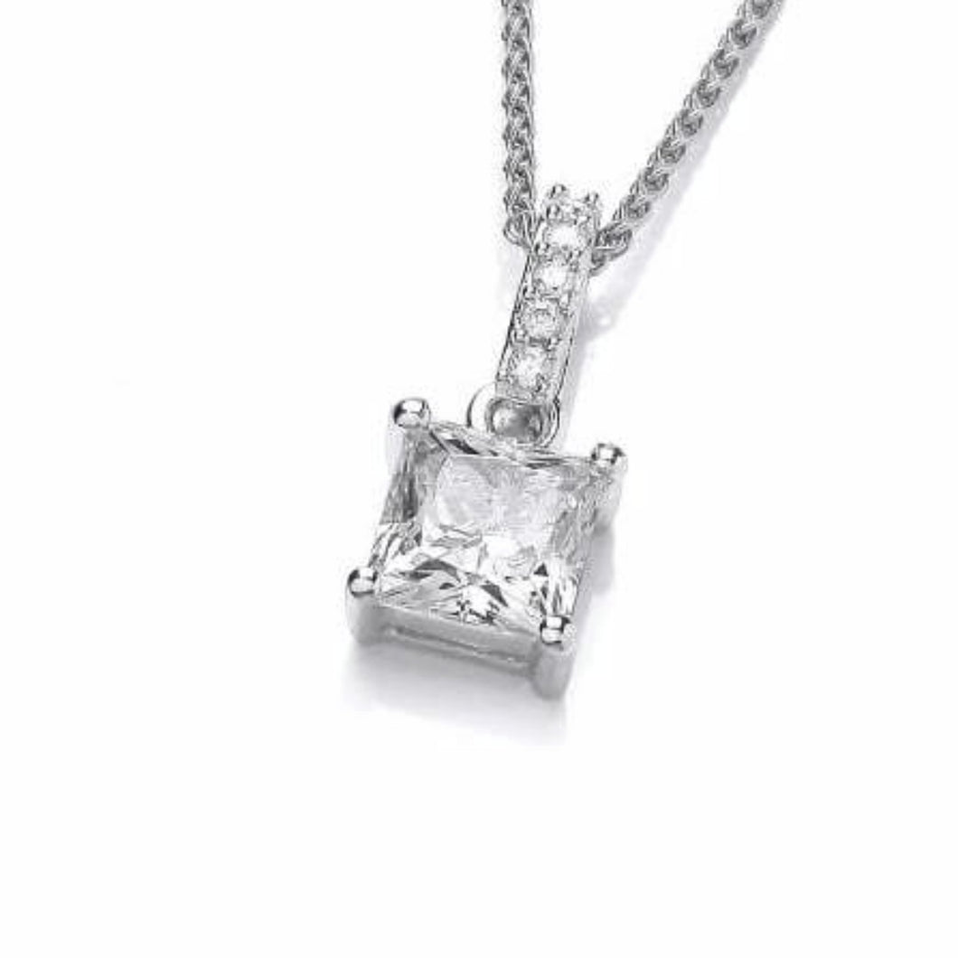Rock Lobster Pendant Silver square claw set drop pendant set with cubic zirconia