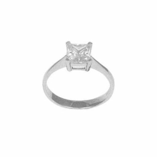 Rock Lobster Ring Silver square princess cut solitaire ring with cubics zirconia